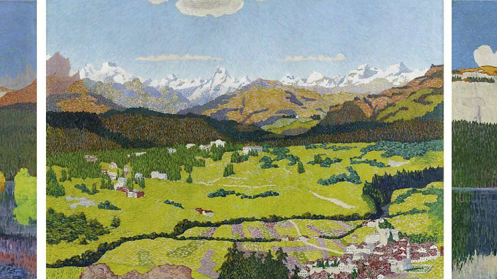 """Das Triptychon """"Flimser Panorama"""" (1904) von Giovanni Giacometti hat einen neuen Besitzer. Dieser zahlt für das Werk 4,05 Millionen Franken."""