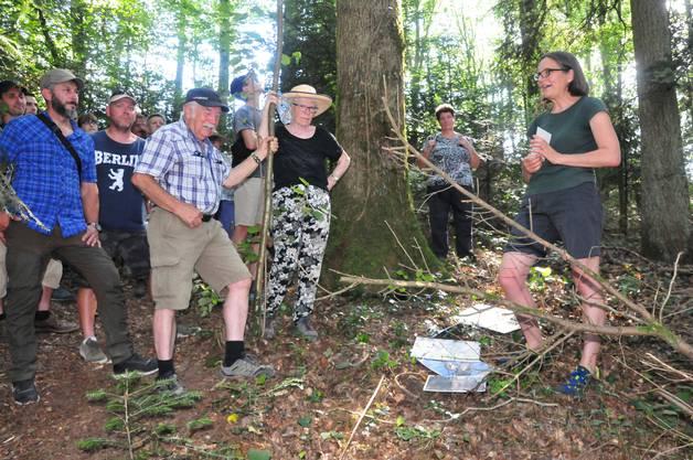 Biotopbäume: Kreisförsterin Veronika Röthlisberger (rechts) erklärt anhand der Eiche (Bildmitte), wie das Mehrjahresprogramm des Kantons funktioniert.