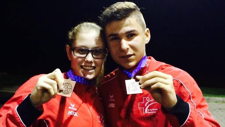 Ramona Brüderlin und Kevin Wagner sind stolz auf ihre Bronzemedallie.