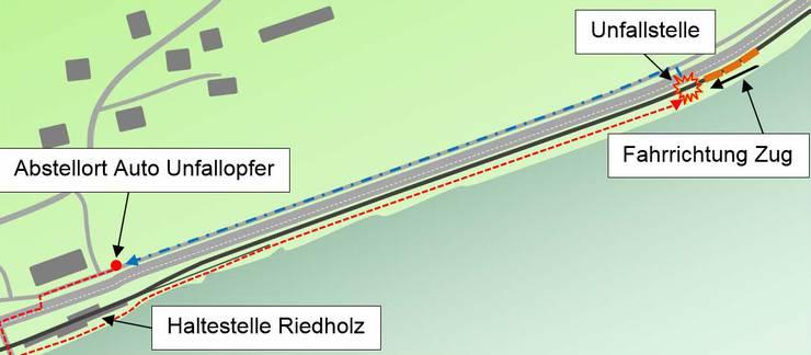 Rote Strichlinie: Hinweg zur Nachsuche, rund 450 m. Blaue Strichlinie: mutmasslichbeabsichtigter Rückweg zum Auto, rund 350 m.