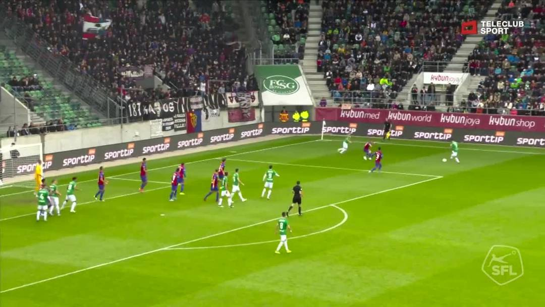FC St.Gallen - FC Basel -Jordi Quintillà  , 11. Minute (6.10.19)