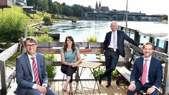 Die Kandidierenden: Lukas Engelberger (CVP, bisher), Stephanie Eymann (LDP, neu), Baschi Dürr (FDP, bisher) und Conradin Cramer (LDP, bisher).