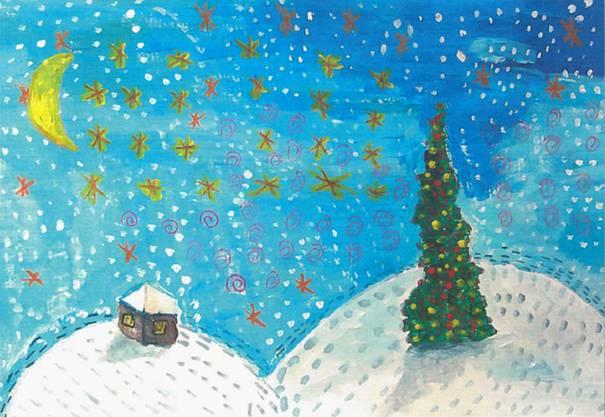 Zeichnung einer Winterlandschaft mit Weihnachtsbaum von Carol Kneuss – verschickt von Didier Burkhalter.