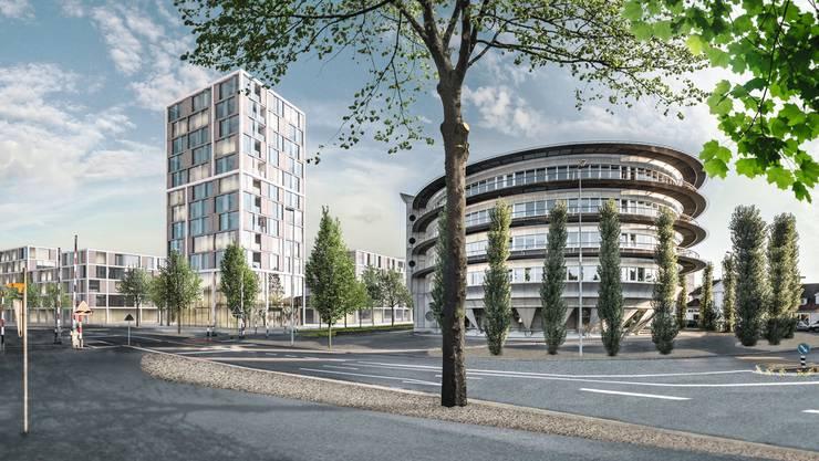 Knapp 40 Meter hoch soll das Hochhaus auf dem Henz-Areal neben dem Rundhaus werden.