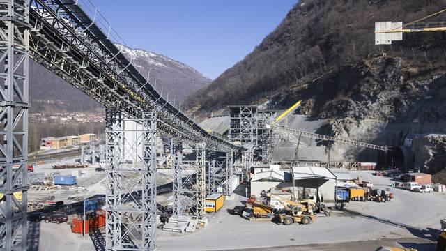 Die NEAT-Baustelle bei Sigirino am Monte Ceneri (Archiv)