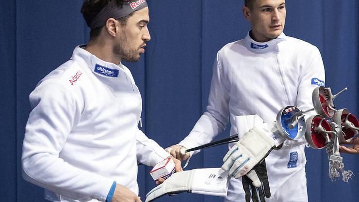 Die Schweizer Degenfechter mit Max Heinzer (links) und Lucas Malcotti (rechts) werden das Olympia-Ticket nun erst in Buenos Aires lösen können