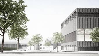 Das Dach des Siegerprojektes des Architekturwettbewerbs eignet sich laut Jurybericht für das Erstellen einer Photovoltaik-Anlage. (Visualisierung)