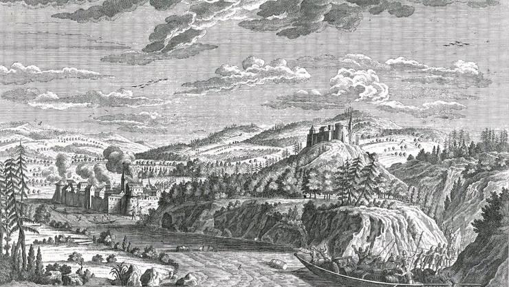Angebliche Zerstörung Glanzenbergs während der Regensberger Fehde (1267), Darstellung aus dem Jahr 1715 – so hätte die Burg damals aussehen können.
