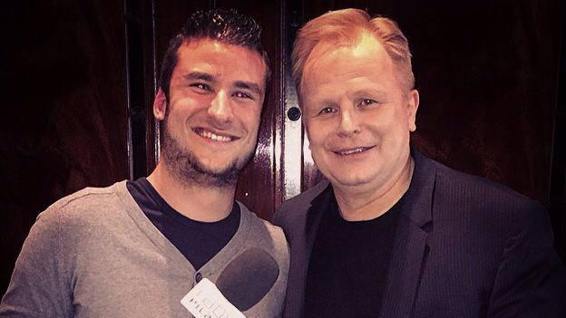 Radio Pilatus Reporter Marco Zibung mit Herbert Grönemeyer beim Interview in Zürich.
