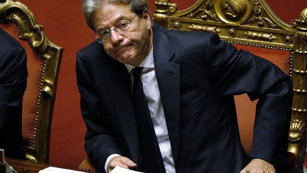 Paolo Gentiloni während der Abstimmung im Senat.
