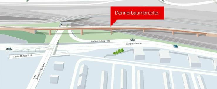 Die neue Donnerbaumbrücke: Die rund 360 Meter lange, einspurige Bahnbrücke wird beim Donnerbaumquartier die drei bestehenden Streckengleise der Hauptausfahrtsstrecke überspannen.