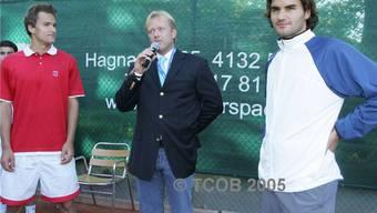 Marco Chiudinelli, Niki von Vary und Roger Federer: 2005 bestritten die beiden Stars des TC Old Boys ein Show-Match auf der Anlage ihres Heimklubs. Fredy Flückiger/ZVG