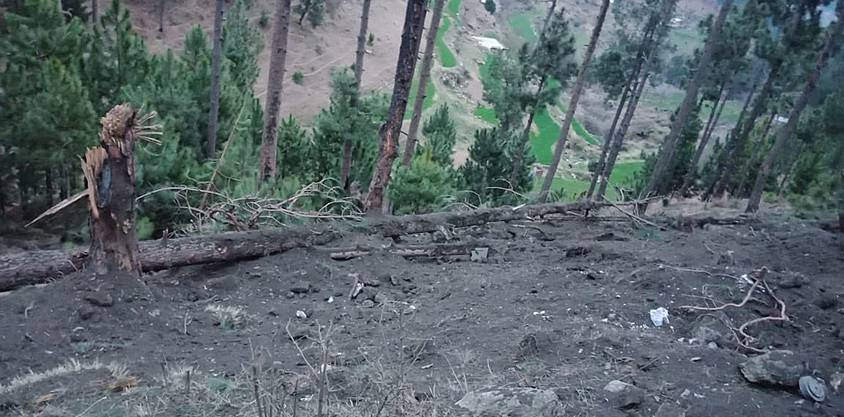 epa07398012 A handout photo made available by the Pakistani military Inter-Services Public Relations (ISPR) shows shows trees damaged after Indian Air Force dropped their payloads near Balakot, Pakistan, 26 February 2019. The Indian Air Force violated the Pakistani air space on 26 February, before the Pakistani Air Force forced them to return. According to the ISPR there were no casualities or damage reported in the wake of the air strikes. Pakistan's Prime Minister Imran Khan on 19 February warned that his country would retaliate if attacked by India and denied New Delhi's allegations that Islamabad was involved in a recent suicide attack that killed 42 security officials in Indian-administered Kashmir. Imran Khan offered India dialogue to ease heightened diplomatic tensions between them and vowed to cooperate in investigating the 14 February suicide car bombing if evidence was shared with it. EPA/ISPR / HANDOUT HANDOUT EDITORIAL USE ONLY/NO SALES