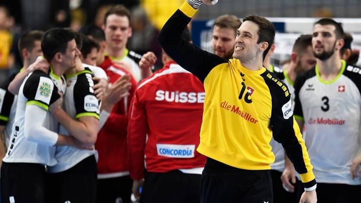 Jubel bei Nikola Portner nach dem Sieg gegen Polen.