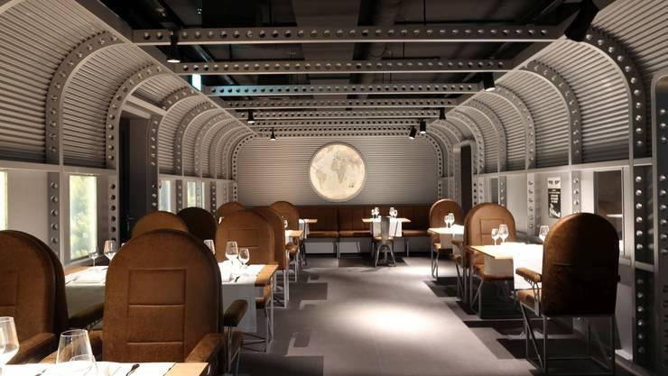 Im Restaurant wird in einem nachgebauten Flugzeug-Rumpf gegessen.