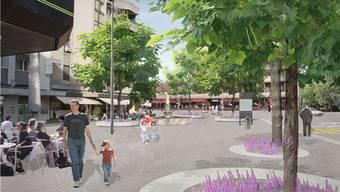 So könnte ab 2014 der neue Dorfplatz in Reinach aussehen (Visualisierung).