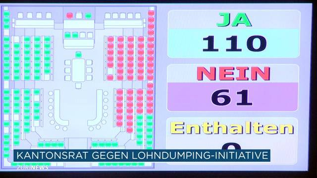 Zürcher Kantonsrat gegen Lohndumping-initiative