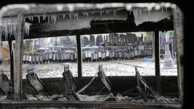 Szene aus Kiew nach den heftigen Protesten