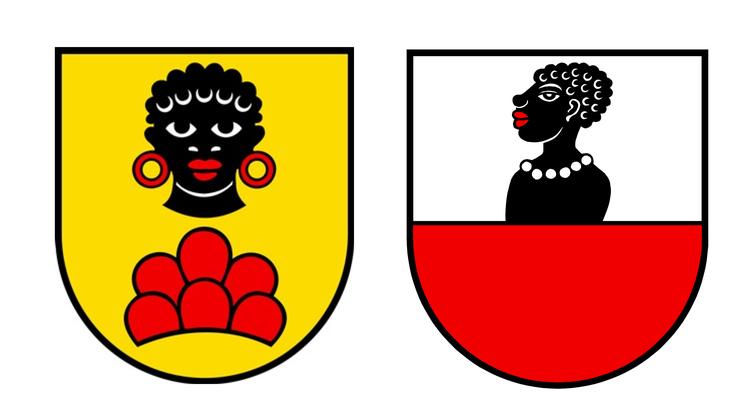 Die Gemeindewappen von Möriken-Wildegg (l.) und Mandach zeigen jeweils einen stilisierten Mohren.