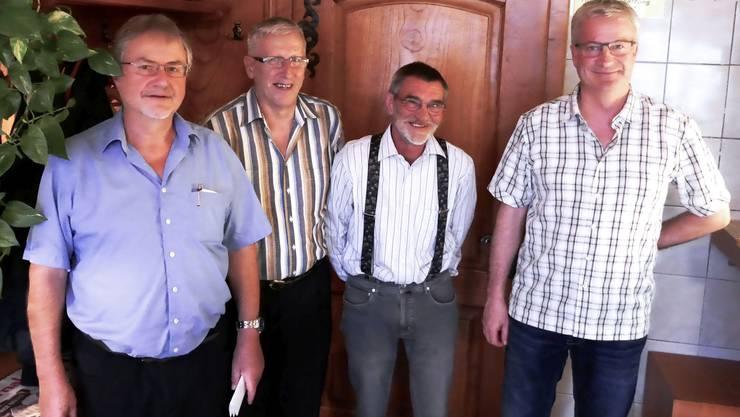 von links:  Hans von Flüe, Alois Bründler (neuer und alter Obmann) /  Josef Notter, Matthias Hirzel (alter und neuer Vize-Obmann).