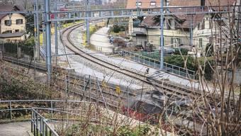 Die Spitzkehre von Turgi, nach links gehts Richtung Brugg, nach oben Richtung Koblenz.