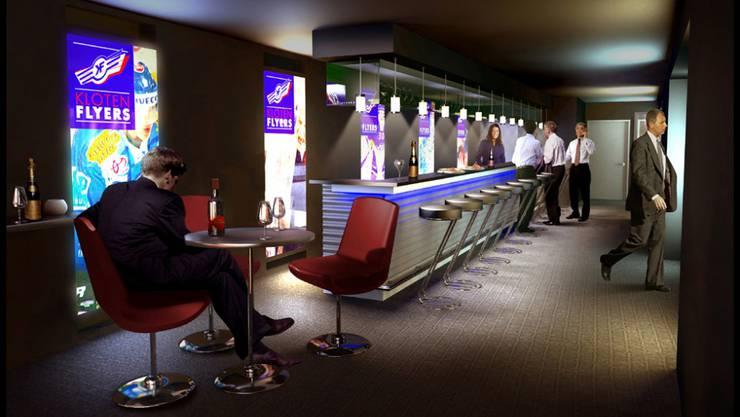 Die Lounge der Eisarena in Kloten Hier empfing der CEO einer Krankenkasse seinen Freund der Bundesverwaltung.  HO