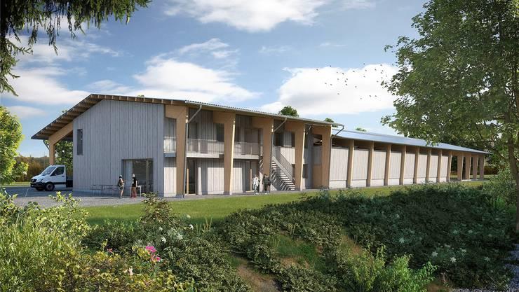 Die Visualisierung zeigt das Ausbildungszentrum auf dem Areal des Berufsbildungsheims Neuhof Birr. Walker Architekten AG/ZVG