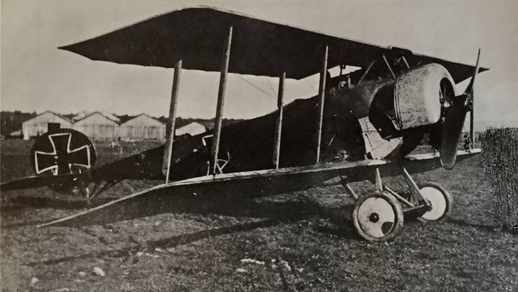 Die Fokker D II von Otto Deßloch in Dübendorf. Nach dem Ausbau der Waffen wurde sie in der Schweiz zivil registriert.