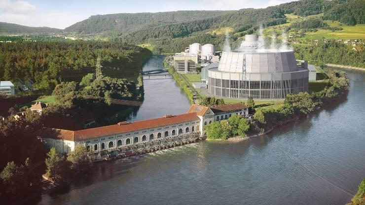 Beznau: Vorn das alte Wasserkraftwerk, rechts einmontiert Beznau 3, dahinter Beznau 1 und 2. Montage axpo
