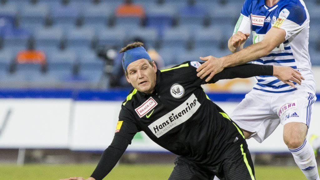 Jocelyn Roux (links) traf bei Wils 2:1-Auswärtssieg in Winterthur zum 1:1-Ausgleich (Archivbild)