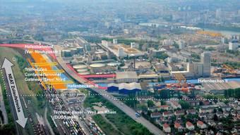 Der Gleisausbau (Neat Zulaufstrecke) muss mit dem Trimodalen Containerterminal, dem Hafenbecken und dem Hafenbahnhof koordiniert werden.