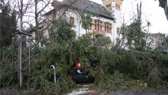 Sturm Burglind sorgte in den ersten Januartagen 2018 für Schäden – wie an diesem Auto vor dem Solothurner Konzertsaal.