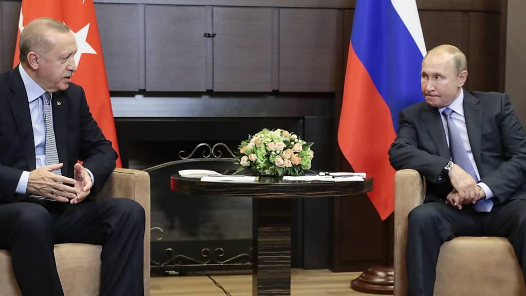 Nach dem international umstrittenen Einmarsch türkischer Truppen in Nordsyrien ist der türkische Präsident Erdogan in Sotschi vom russischen Präsidenten Putin zu Gesprächen empfangen worden.