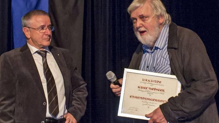 Gemeindeammann Martin Heiz (links) und Kurt Hediger.