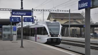Seit heute nicht mehr möglich: Ein Zug fährt in Koblenz los in Richtung Waldshut. (Bild vom 15. Februar 2020)