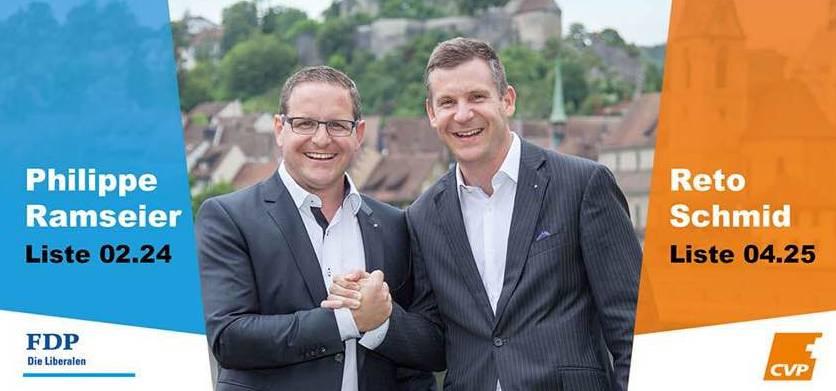 So wurde Schmid (r.) bisher bekannt. Wahlplakat mit Philippe Ramseier (l).