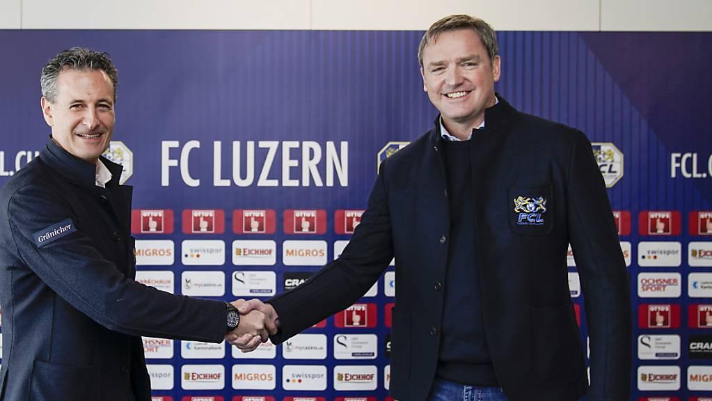 FCL-Präsident Stefan Wolf (rechts) wird gebüsst für die Organisation der Cupfeier in Zeiten von Corona. (Archivbild)