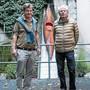 Roman Signer und Carlo Mettauer (l.) wassern das Kajak seit 1999 gemeinsam. Jetzt gibt es ein Buch dazu.
