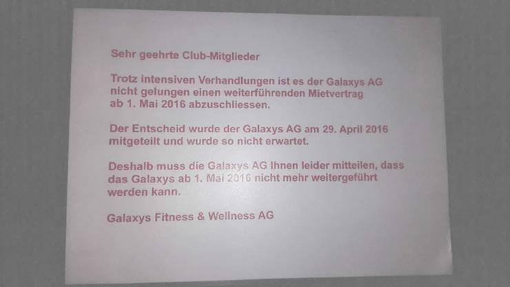 Der Zettel der Galaxys AG, der mittlerweile von der Vermieterin überklebt wurde.