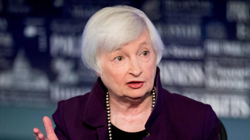 Janet Yellen, ehemalige Fed-Vorsitzende spricht im Büro von Fox Washington. Foto: Andrew Harnik/AP/dpa