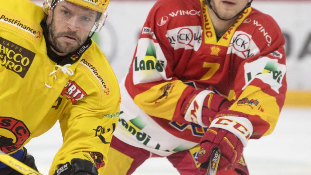 Benoit Jecker (rechts) verteidigt neu für den HC Lugano