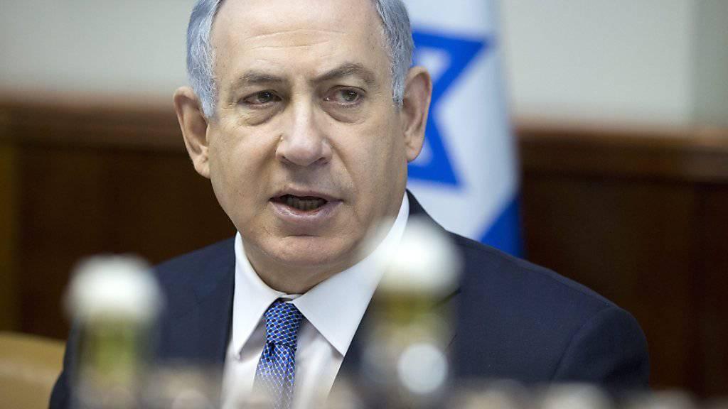 Israels Ministerpräsident Benjamin Netanjahu ist nicht erfreut, dass seine Hündin zehn Tage lang in eine Quarantäne muss. Das Tier hatte an einer Feier zwei Personen gebissen. (Archivbild)