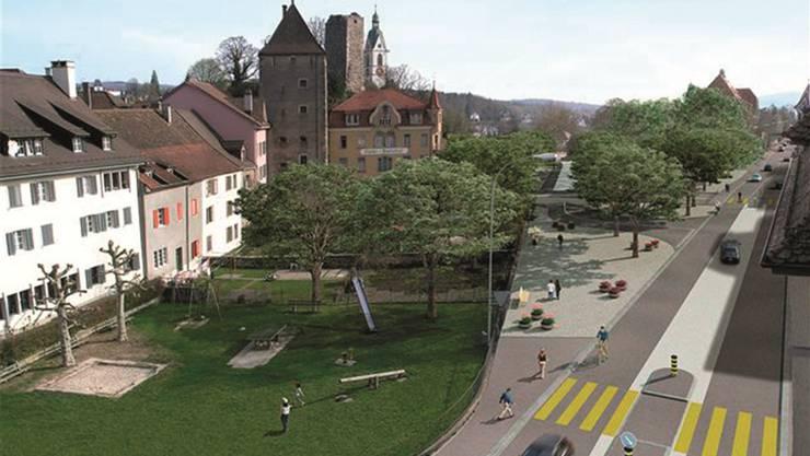 Dereinst soll die Baslerstrasse einen Mehrzweckstreifen erhalten. archiv