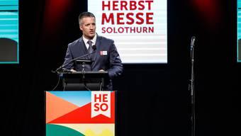 OK-Präsident Urs Unterlerchner an der HESO-Eröffnung des letzten Jahres. (Archivbild)