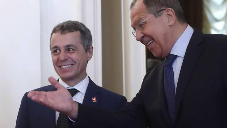 Bundesrat Ignazio Cassis (l.) und der russische Aussenminister Sergei Lawrow am Mittwoch in Moskau.
