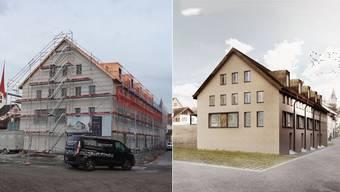 Links: Die Kupferdächer sind im Moment noch sehr auffällig – rechts: So sollen die Häuser in der Reussgasse einst aussehen. (Visualisierung)