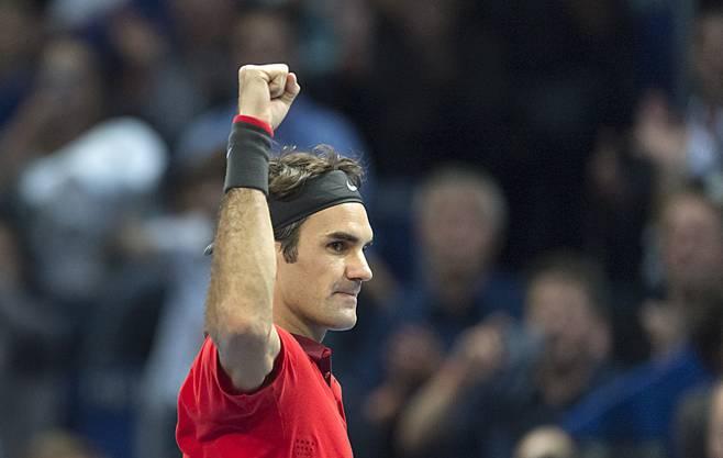 Ein hartes Stück Arbeit: Roger Federer schlägt Ivo Karlovic in drei Sätzen 7:6 (10:8), 3:6, 6:3.