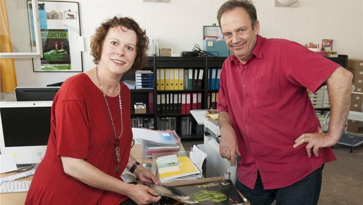 Katja Spiess und Markus Lerch im Büro der Figura-Festivalleitung in Baden.