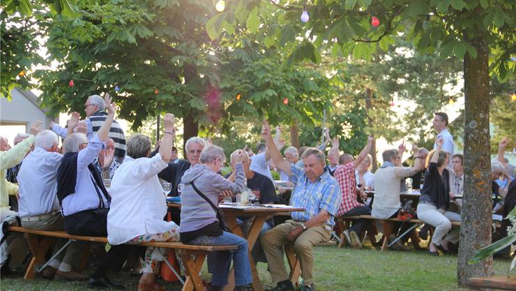 Die Wider Sommer-Gemeindeversammlung fand draussen statt – mit Musik, Getränken und feinem Kuchen. Lisa Stutz