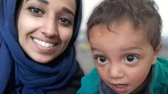Die reuige IS-Frau mit ihrem Kind.